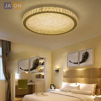 LED Modern Stainless Steel Clear Amber Crystal LED Lamp LED Light Ceiling Lights LED Ceiling Light