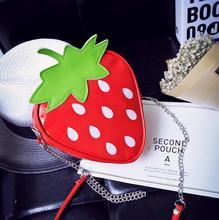 Dulce de verano nuevos bolsos de moda de calidad de cuero de LA PU mujeres del bolso de la fresa bolsa de la cadena de Mensajero Del Hombro Del paquete del monedero de Corea