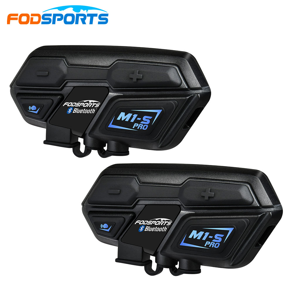 Fodsports 2 pièces M1-S Pro moto casque Interphone bluetooth casque 8 rider 2000 M Interphone étanche Interphone