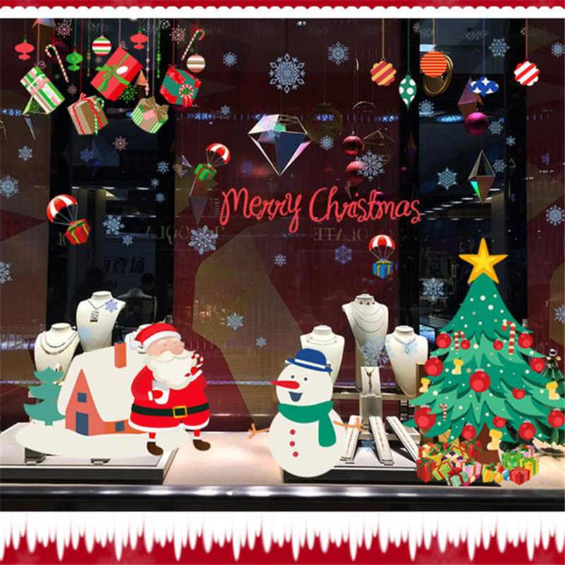 Image 3 - Merry Christmas Wall Stickers Wall Art Removable Home Decal Party Decor Santa Claus Window Transparent Film Stickers flowers-in Wall Stickers from Home & Garden