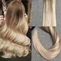 Полный Блеск Лента в Наращивание Волос Ombre Цвет #10 Прозрачный Блондинка Золы #18 и #24 Кожа Уток Бразильский Человеческих Волос