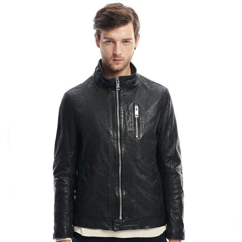 Öl Männer Der Wachs Jacke Hight Gewaschen Schwarzes Zipper Schaffell Qualität Echtes Stehkragen Leder Weiche Mode Mantel Helle pTpqcBfE