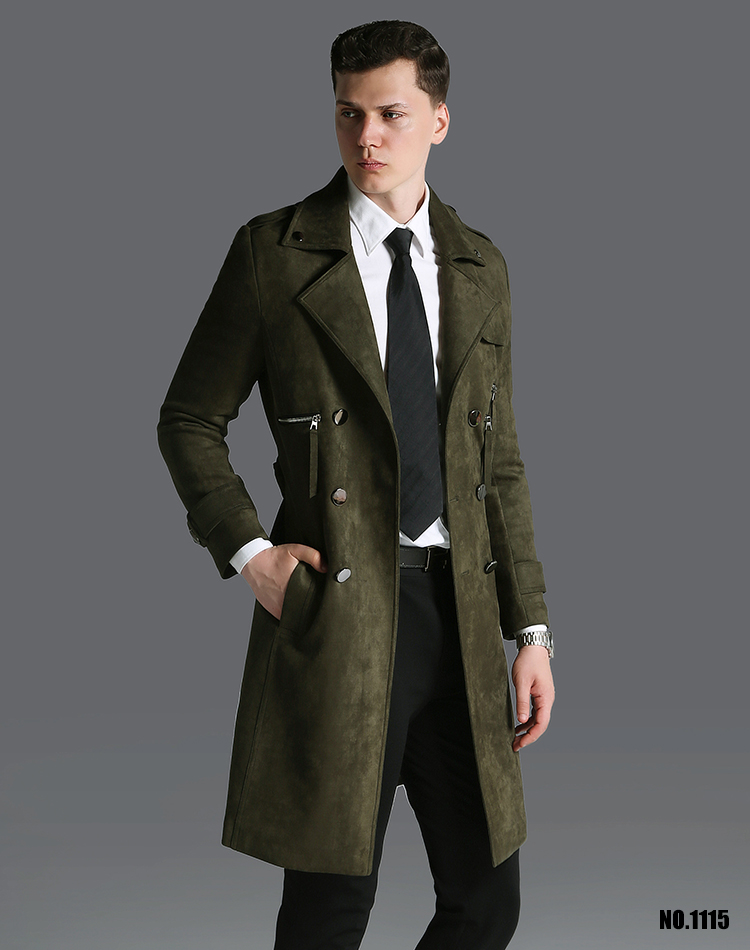 ฤดูใบไม้ร่วงฤดูหนาวที่มีคุณภาพสูงแฟชั่นเลียนแบบหนังนิ่มคู่หน้าอกน้ำเสื้อชายยาวสบายๆปรับเอวขนาดบวกS 6XL-ใน โค้ทยาว จาก เสื้อผ้าผู้ชาย บน   1