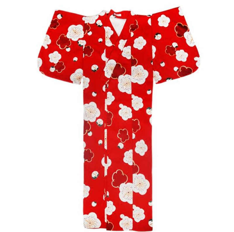 Japanese Outer Garment Bathrobe Costume Girl Cardigan Long Dress V-neck Party Japanese Red Kimono Student Dress