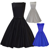 Summer Vintage 40s 50s 60s Hepburn Dress Rockabilly Retro Swing Pinup Casual Cotton Ball Celebrity Wedding