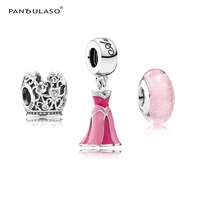 Princess Aurora Color Dress Clear CZ Crown Pink Signature Murano Glass Beads for Silver 925 Beaded Bracelets DIY Jewelry Making