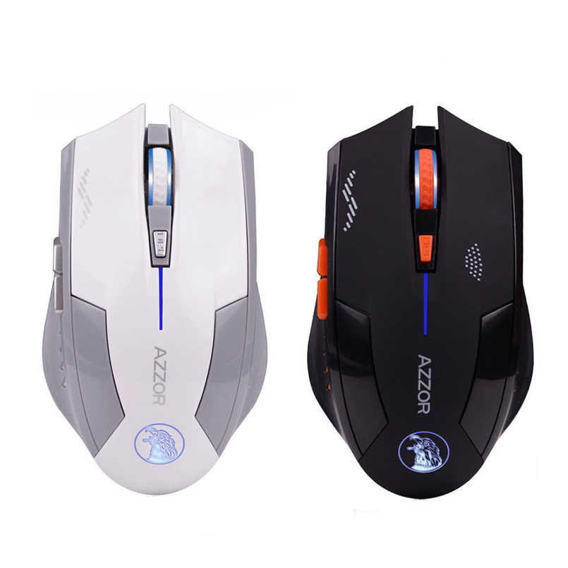 AZZOR Беспроводная 6D перезаряжаемая 2400 dpi 6 кнопок оптическая профессиональная игровая мышь для ПК