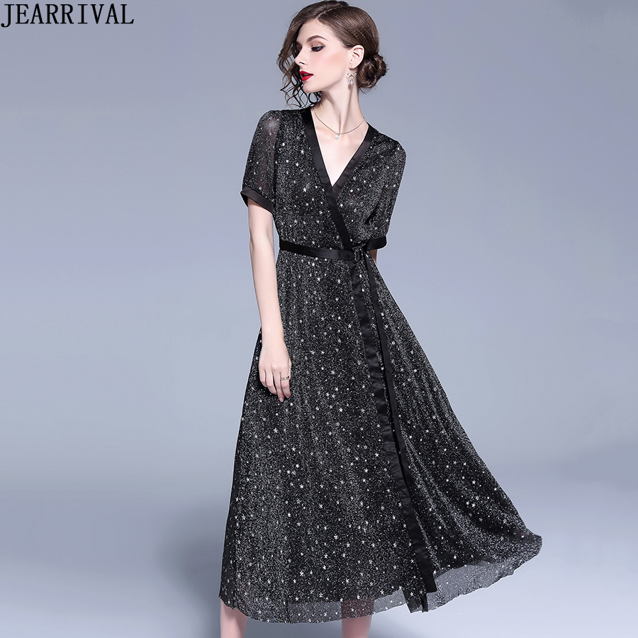 2019 Spring Fashion Long Dresses Women Short Sleeve V Neck Star Print Vintage Wrap Casual Dress Elegant A Line Vestidos De Festa