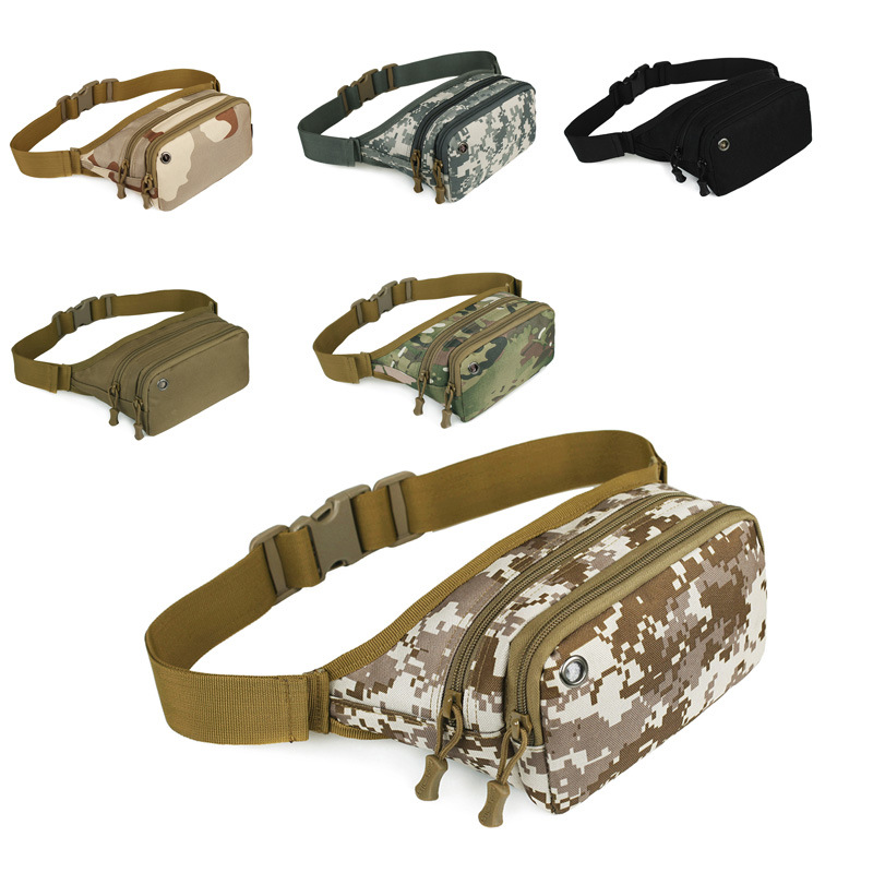 Naturebell 6016 Outing Military Camouflage Waist Bag Tactical Waist Pack Canvas With Headset Line Hole 900D