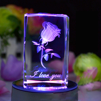 Crystal 3D Cube With Laser Rose With Colorful LED Base Crystal Souvenirs For Christmas Gifts