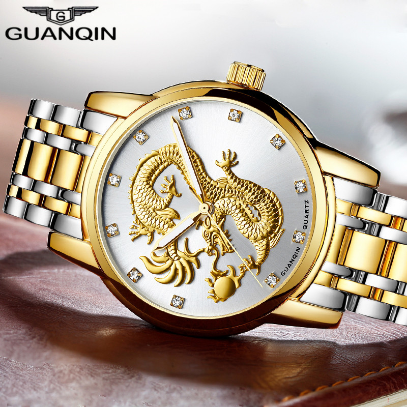 GUANQIN Męskie zegarki Chinese Gold Dragon marki Luxury Sculpture Quartz Watch Mężczyźni Business Fashion Wodoodporna konstrukcja zegarki na rękę