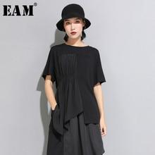 [EAM] 2020 New Spring Summer Round Neck Short Sleeve Black Pleated Split Joint Irregular Big Size T shirt Women Fashion JW596