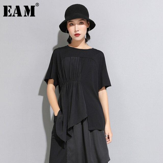 [Eam] 2020春夏新作ラウンドネック半袖黒プリーツスプリットジョイント不規則なビッグサイズのtシャツ女性ファッションJW596