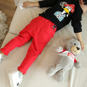 Image 3 - Jeans for Boy Red Spring Autumn Casual Kids Torn Black Pants Boys Cotton Ripped Hole Trousers Children Clothes 2 4 6 8 10 Years