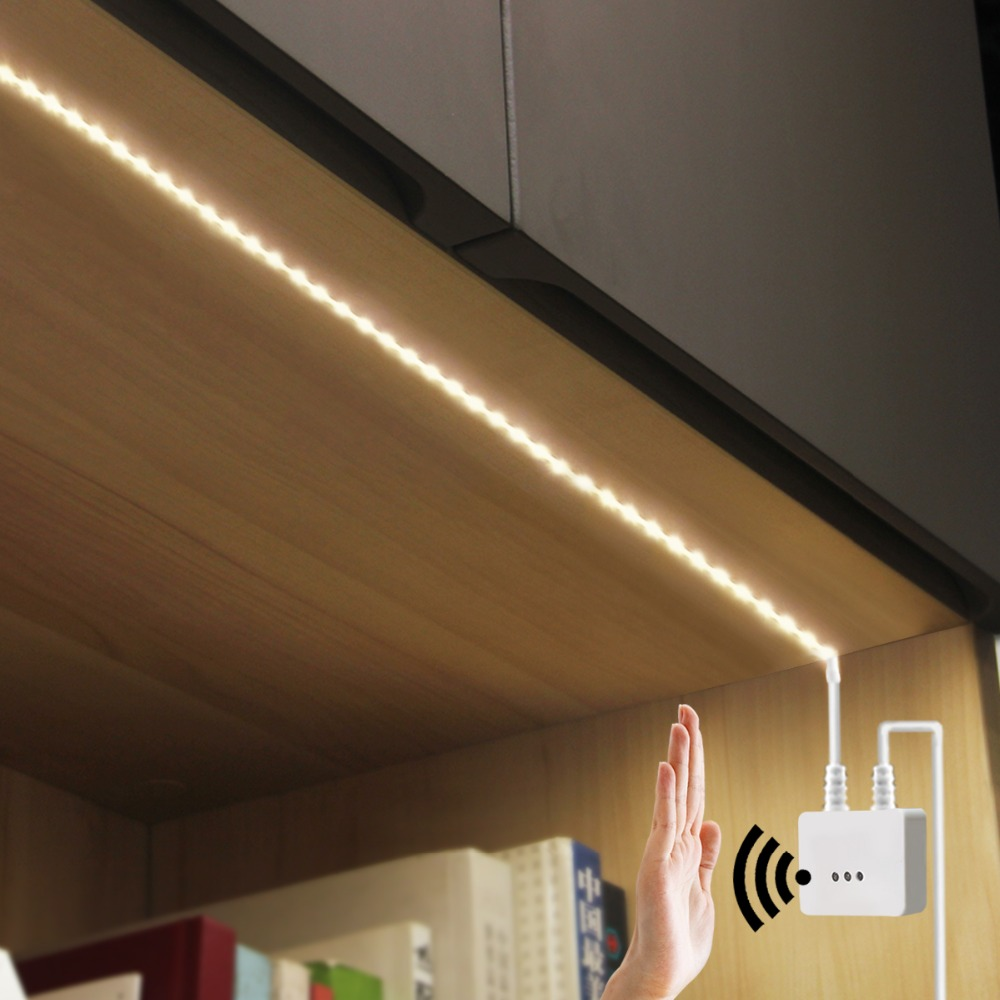 Us 8 88 35 Off 12v Ir Hand Wave Sensor Led Cabinet Lights Dimmable Sweep Motion Strip Night Lamp Closet Kitchen Home Lighting In