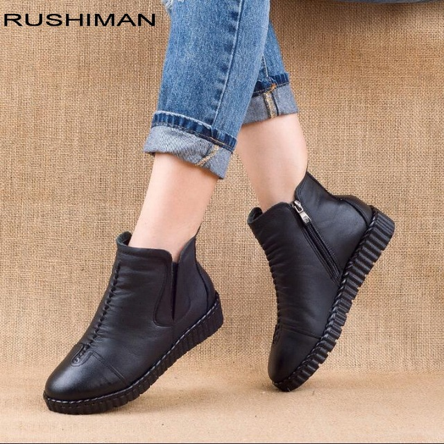 2018 winter Genuine Leather Ankle Boots Handmade Lady soft Flat shoes comfortable Casual Moccasins side Zip Ankle Boots 1