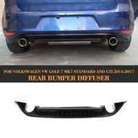 car Rear bumper lip spoiler Diffuser For Volkswagen VW GOLF VII 7 MK7 Standard And GTI 14 17 PP dual exhaust one out