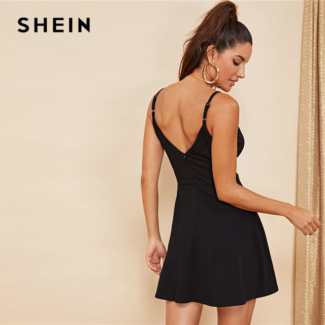 SHEIN Black Party Sexy Backless Solid Wrap Sleeveless Natural Waist Cami Short Dress Summer Club Night Out Women Dresses 1