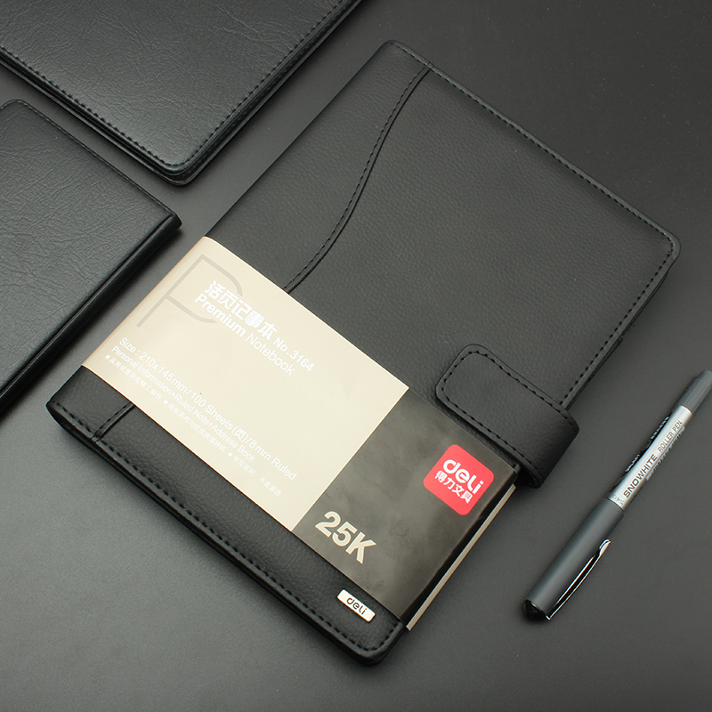 Deli 1pcs leather notebook high quality business meeting diary book with a gel pen black stationery thick notebook 3164
