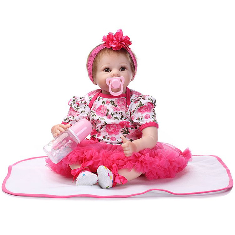 NPK 22 inch Lifelike Baby Dolls Silicone Full Body Bebe Reborn Lace Floral New Born American Girl Real Baby Fashion Dolls 55cm new lifelike soft cloth full body painting silicone born baby dolls girl realistic solid original reborn dolls for sale shop