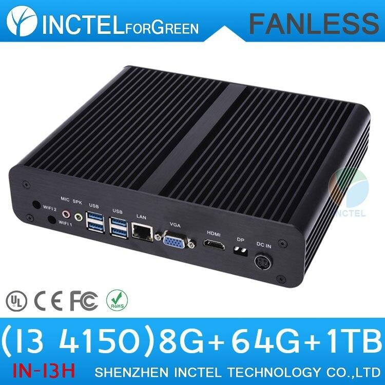 Fanless Aluminum Intel Core i3 4150 3.5Ghz HD VGA Mini PC Windows 10 with 8G RAM SSD/ HDD