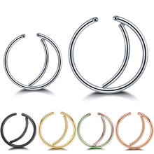 5Pcs/Lot Mixed Colors Nose Ring Hoop Septum Piercings Steel Fake Daith Piercing Oreja Helix Tragus Earrings