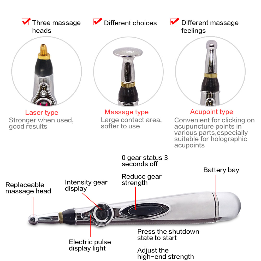 Image 4 - New Electric Electronic Acupuncture Pen Laser Acupuncture Magnet Therapy Heal Massage Pen Meridian Energy Pen Dropshipping-in Massage & Relaxation from Beauty & Health
