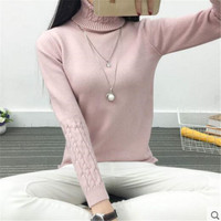 2016 New Fashion Women White Lapel Turtleneck Sweater Female Basic Knitted Shirt Twist Thick Slim Long