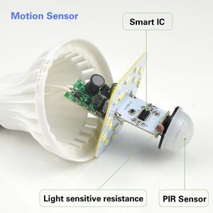 Image 2 - Smart 3 W 5 W 7 W 9 W 12 W E27 220 V Geluid/PIR Bewegingssensor LED lamp licht Inductie Lamp Trap Hal Night Emergency verlichting