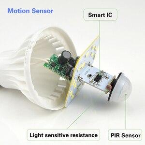 Image 2 - Smart 3W 5W 7W 9W 12W E27 220V dźwięk/PIR Motion Sensor lampka led indukcyjna żarówka schody przedpokój noc oświetlenie awaryjne