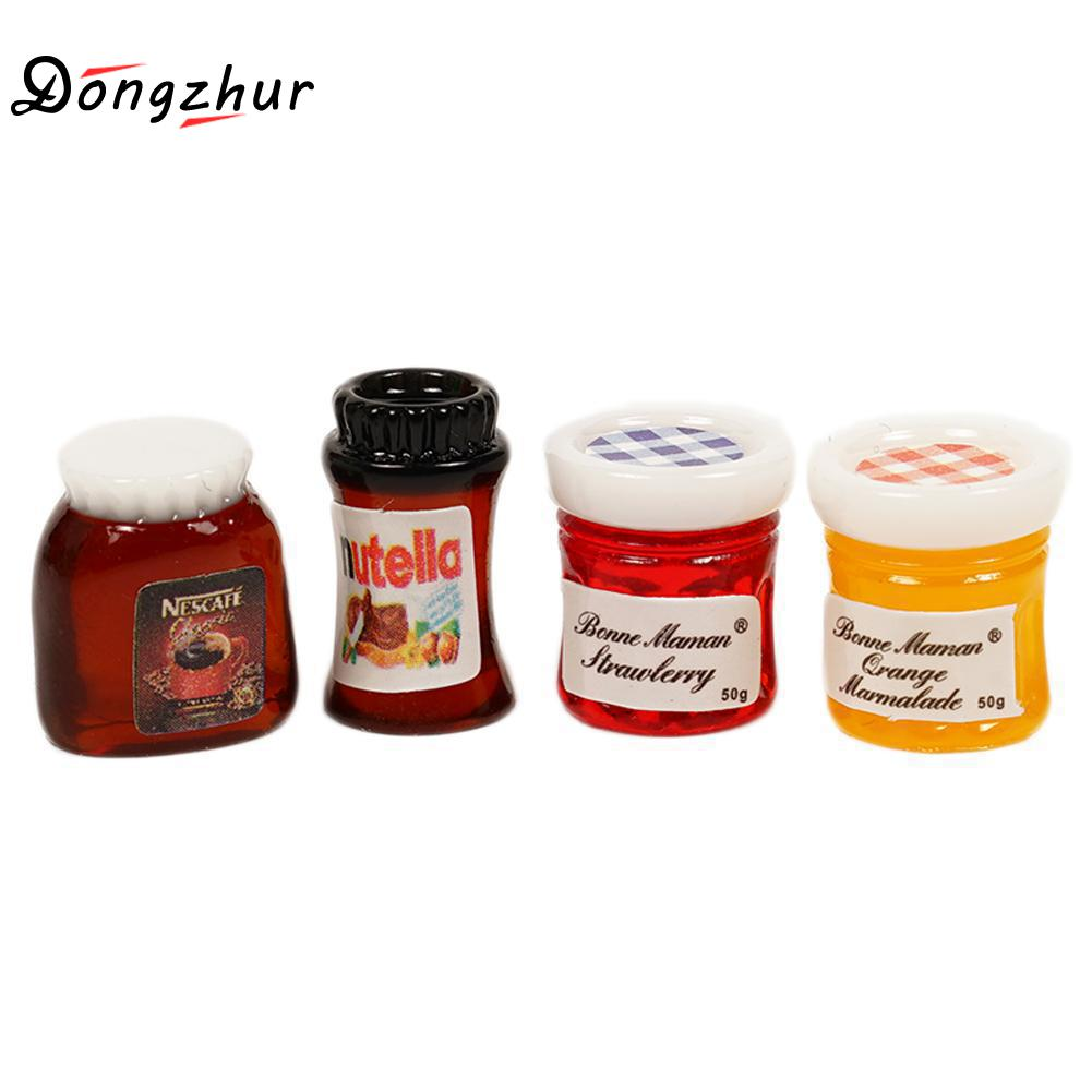 4pcs Miniature 1:12 Miniatura Dollhouse Coffee Jam Jar Storage Bottle DIY Miniature 1:12 Food Dollhouse Decoration Accessories