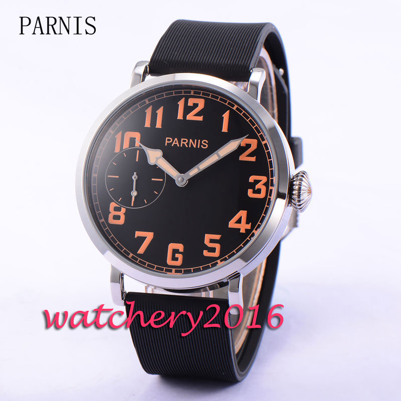Cusual Parnis 46mm black dial polished case 17 jewels 6497 hand winding movement Men s font
