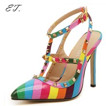 2016  New Women Rainbow High heels shoes woman Ladies Sexy Pointed Toe Colorful High Heels Buckle Studded Stilett Shoes pumps