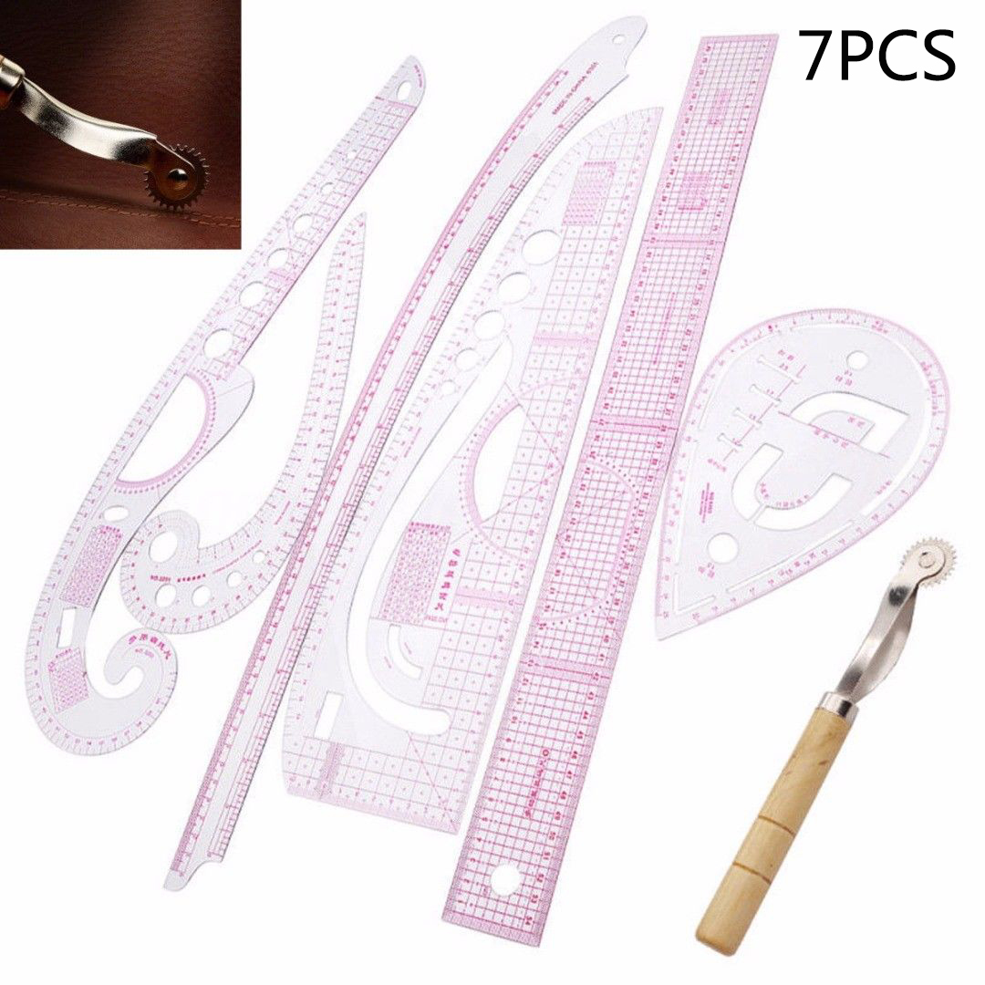7pcs/set Ruler Tailor Measuring Kit Clear Sewing Drawing Ruler Yardstick Sleeve Arm French Curve Set Cutting Ruler Paddle Wheel
