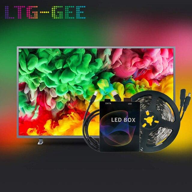 Ambilight WS2812B 5050 حلم اللون RGB LED قطاع ضوء شاشة التلفاز حاسوب شخصي مكتبي شاشة الخلفية الإضاءة بكسل الشريط الشريط 1 متر ~ 5 متر