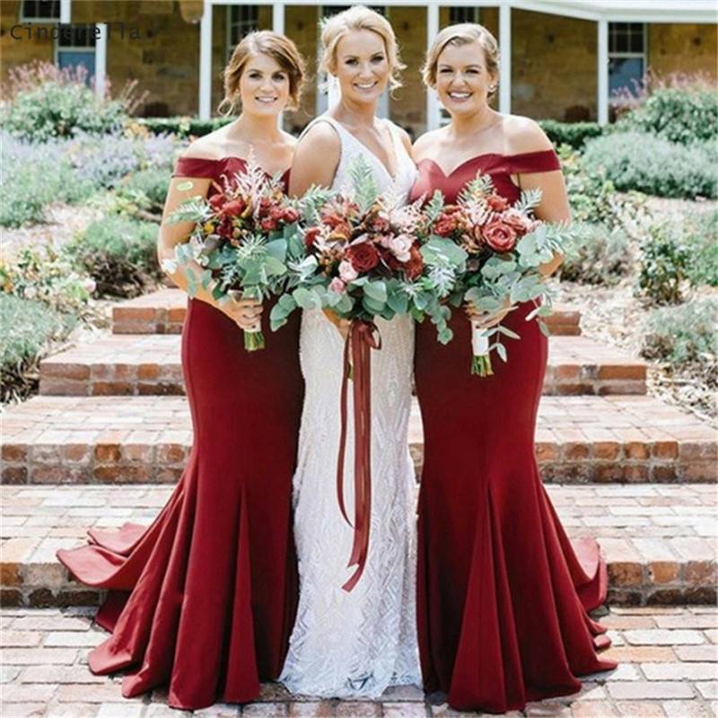 Cinderella Dark Red Sweetheart Off The Shouder Mermaid Satin   Bridesmaid     Dresses   Zipper Back Trumpet Satin Fabric   Bridesmaid   Gown