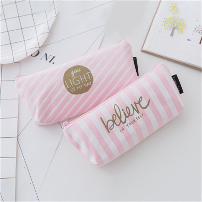 NIBESSER Small Striped Cosmetic Bag Canvas Pink Kawaii Pencil Case Pen Bag Beauty Pouch Cosmetic Organizer Portable Student Bag striped wrap pencil bag