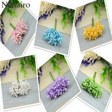 100pcs Colorful Wire Stamens With Leaves Artificial Floral Pearl For flowers Diy Handmade Flowers For Wedding Box Decoration