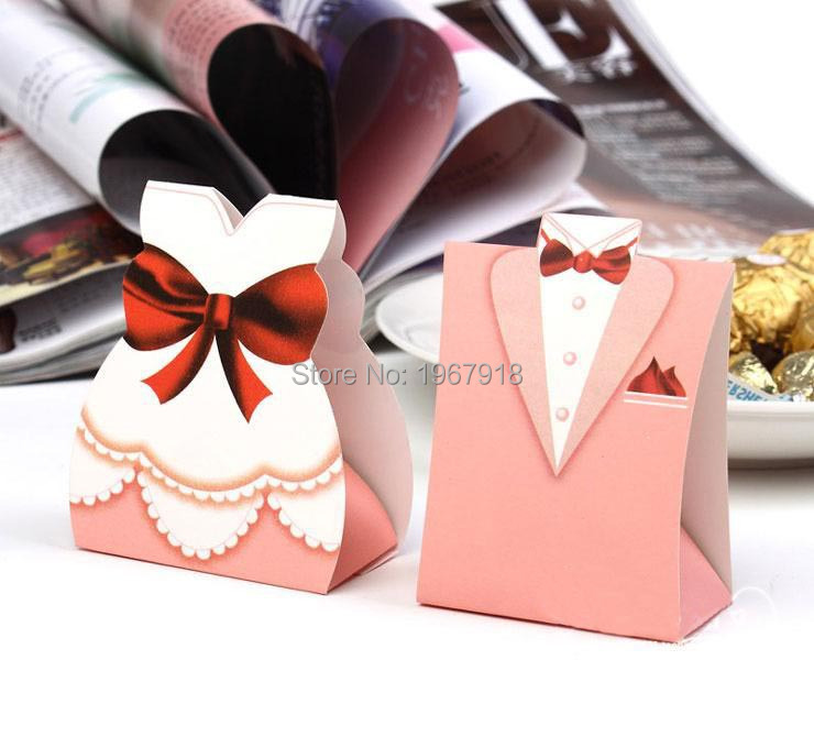 Wedding Gift Packaging: 100pcs/lot Pink Color Bride & Groom Favor Candy Boxes