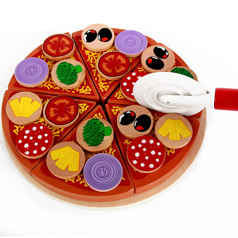 27pcs/set Simulation Pizza Fruit Vegetable With Tableware Wooden Toys Food Cooking For Kids Children Kitchen Pretend Play Toy