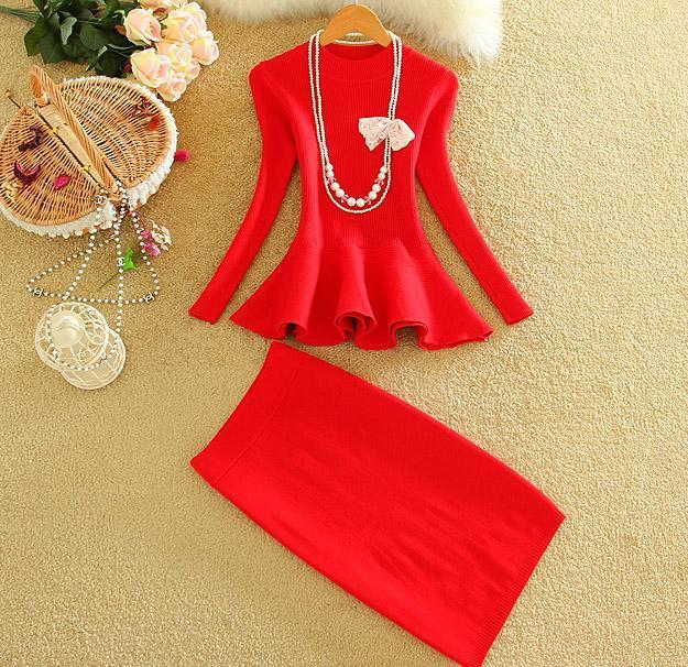 Autumn Women Fashion Skirt Suits Ruffle Hem Slim Knitting Blouses Tops + Step SKirt Sets Women