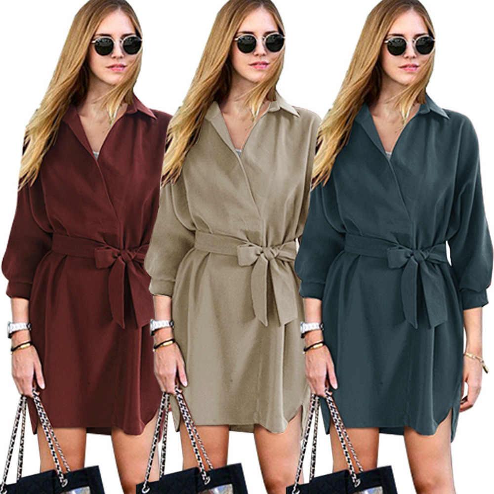 אופנה Vestidos 2018 סתיו נשים של ענקיות חולצה שמלות עם חגורת להנמיך צווארון גבירותיי חולצות משרד עבודה קצר שמלה