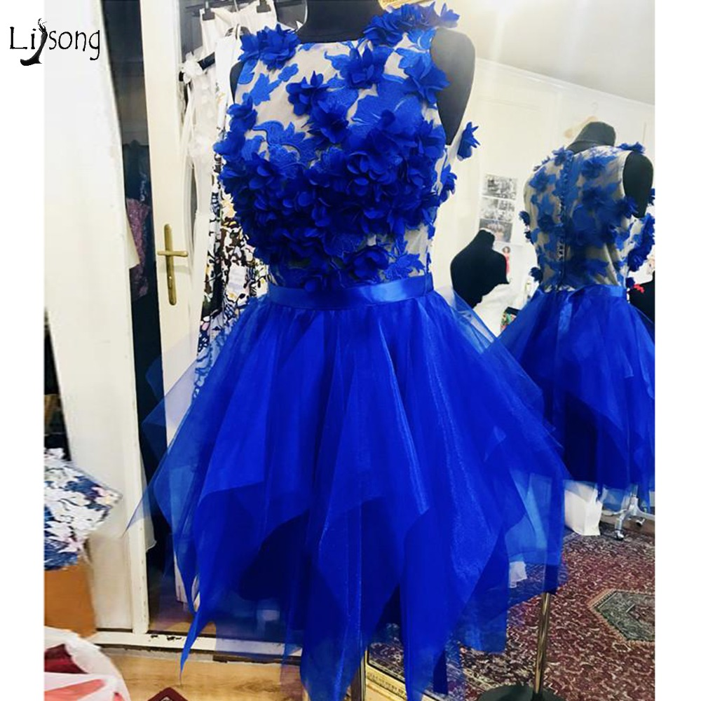 Pretty Royal Blue 3D Flower Cocktail Dresses Asymmetrical Lace Mini Homecoming Party Dress Button Short Women Gowns Vestidos