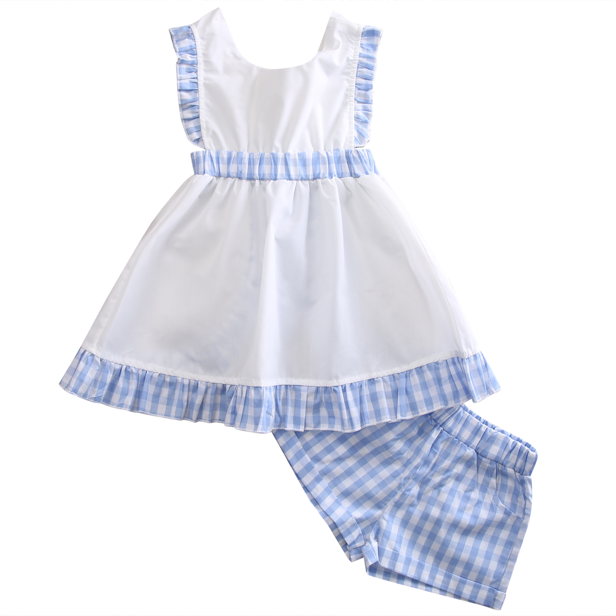 kids Girls Princess Clothing Set Ruffle Plaid Baby Dress Tops Backless Cute Shorts 2-7Y Outfits Clothes Set 2PCS Summer baby girls summer clothing girls july 4th anchored in god s word shorts clothes kids anchor clothing with accessories