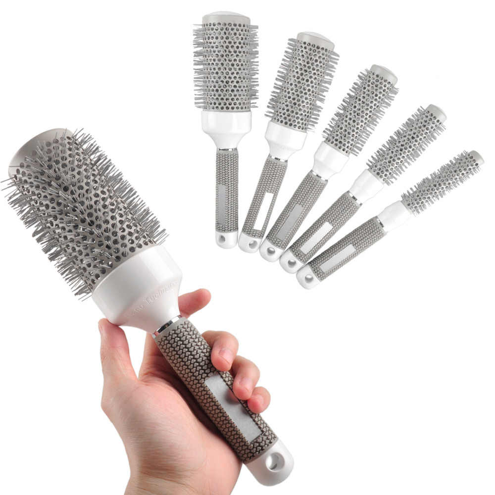 Mix Size Roll Round Comb Barber Hair Salon Dressing Styling Hair Brush 5pcs/Lot