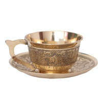 European style pure copper coffee mugs with saucer handmade tea cups and mugs retro household drinkware