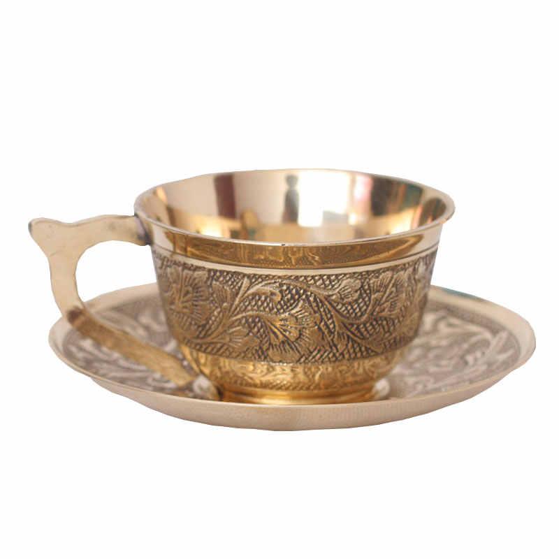 3a0ca6cd4fd European style pure copper coffee mugs with saucer handmade tea cups and mugs  retro household drinkware