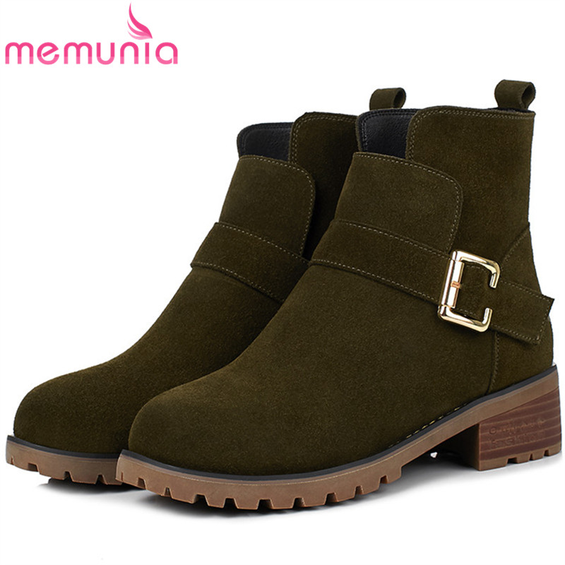 MEMUNIA Large size 34-43 leather boots fashion punk ankle boots for women round toe platform shoes woman buckle solid memunia ankle boots for women high heels shoes woman pointed toe fashion boots female party flock solid big size 34 43