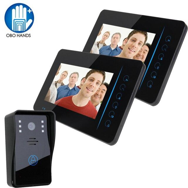 "7"" Video Door Audio Phone Wireless Color Video Intercom System 2 Monitor+1 Kit IR CMOS Camera"