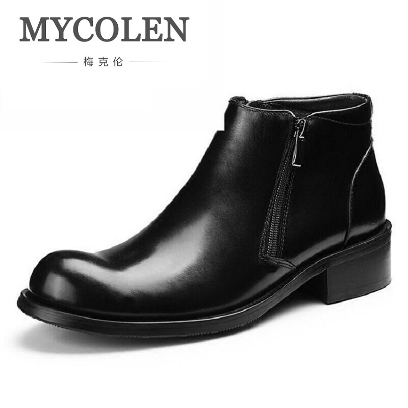 MYCOLEN New Designer Autumn Winter Boots Men Genuine Leather Martin Boots Zipper Minimalist Design Ankle Boots laarzen dames